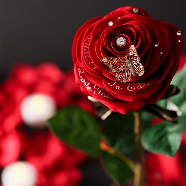 刺繍入りメッセージフラワー人気No.1赤バラ
